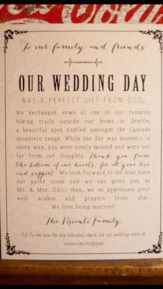 DIY elopement announcement idea                                                                                                                                                      More