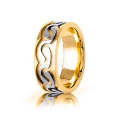 Two Tone 10k Yellow-white-yellow Gold Celtic Double Spiral Wedding Band Polish 7.5mm 01673