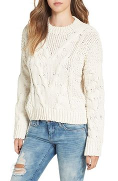 Free shipping and returns on J.O.A. Boxy Cable Knit Sweater at Nordstrom.com. The perfect chunky, throw-on-and-go sweater has arrived. Chevron cable knitting adds tactile dimension to this boxy, cropped look styled with slouchy dropped shoulders for a totally effortless vibe.