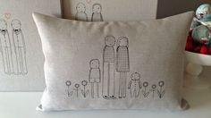 K studio embroidered custom family pillows.