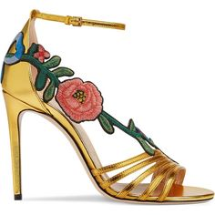 Gucci Embroidered Metallic Leather Mid Heel Sandal ($895) ❤ liked on Polyvore featuring shoes, sandals, women, heeled sandals, embroidered sandals, gucci shoes, leather ankle strap sandals and embroidered shoes