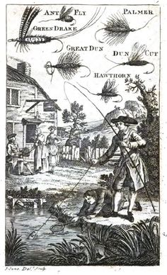 "Depicting a gentleman fishing and the artificial flies he could be using - an illustration from ""The art of Angling"" by R. Brookes, MD (1781) which is just one of the books  on Classic Fly Fishing Books DVDs (373 PDF books on 2 DVDs) available from eBay UK"