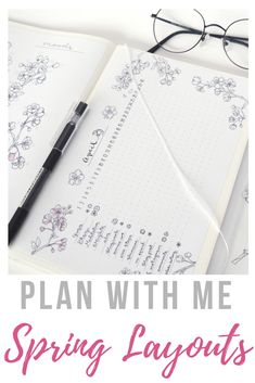Spring layout ideas for bullet journaling~ It's my favorite season, with cherry blossoms and flowers everywhere - so of course, my bullet journal needed floral patterns and light, breezy layouts, too! Find my monthly setup in my journal, with habit tracker, mood tracker, coloring pages, and little doodles - with printable versions if you want to follow along!