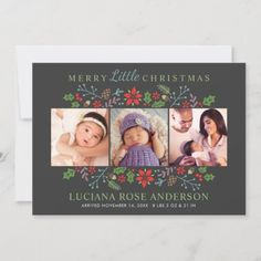 Merry Little Christmas Babys First Photo Collage H Holiday Card: Merry Little Christmas Babys First Photo Collage H Holiday Card $2.10 by Plush_Paper Christmas Photo Cards, Holiday Cards, Merry Little Christmas, First Photo, Babys, Plush, Collage, Invitations, Paper