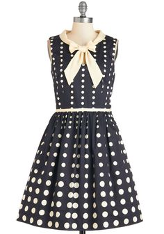 Peppy Personality Dress. Take on your day with pleasant panache in this dotted fit-and-flare frock from Bea  Dot!  #modcloth