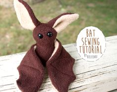Beginner Bat Stuffed Animal Sewing Pattern - Digital Download, Pattern, BeeZeeArt Easy Sewing Projects, Sewing Projects For Beginners, Sewing Tutorials, Sewing Crafts, Sewing Hacks, Diy Projects, Sewing Ideas, Sewing Stuffed Animals, Stuffed Animal Patterns