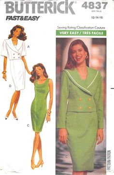 BUTTERICK 4837 - FROM 1990 - UNCUT - MISSES JACKET AND DRESS