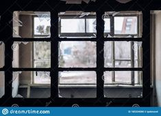 Window Of An Empty Abandoned Old Building With Broken Glasses Stock Photo - Image of disrepair, material: 185334080 Broken Window, Old Building, Abandoned Buildings, Wooden Frames, Empty, Windows, Stock Photos, Places, Adobe