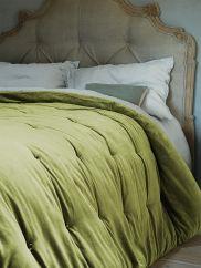 NEW Velvet & Linen Kingsize Quilt - Golden Olive