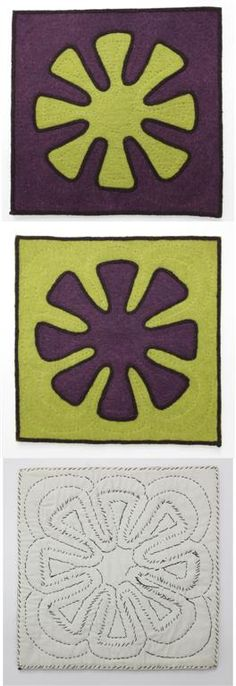 Shyrdak - felt rug as seen from the front and back.
