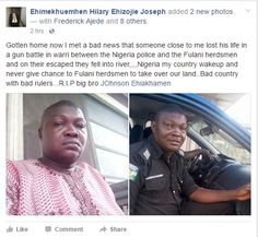 Photos Of A Policeman Killed by Fulani Herdsmen In Delta State http://ift.tt/2lhdoms