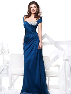 Sheath/Column Off-the-shoulder Sleeveless Chiffon Evening Gowns With Beaded #FJ996