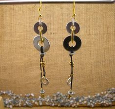 Handmade Industrial Hardware Earrings with washers-hex nuts- gold plated components.