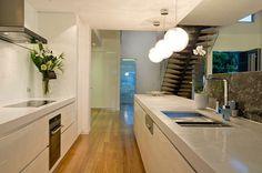 #kitchen #white kitchen Sarah Waller design caesar stone bench, Pure white