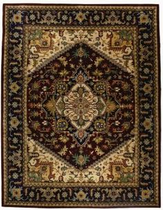 $297 Amazon.com: Safavieh Heritage Collection HG625A Handmade Red and Navy Hand-Spun Wool Area Rug, 5-Feet by 8-Feet: Home & Kitchen