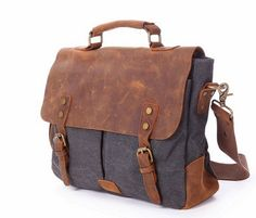 Handmade Real Leather Shoulder Bag Canvas Briefcase by shuiku