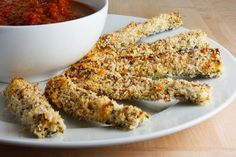 Parmesan Crusted Baked Zucchini Sticks with Marinara Sauce. Switch out the panko for pork rhines and it's low carb.