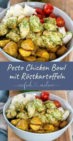 Super easy & really tasty - the recipe for the pesto chicken . Super easy & really tasty – the recipe for the Pesto Chicken Bowl is perfect for pr - Healthy Chicken Recipes, Lunch Recipes, Easy Dinner Recipes, Salad Recipes, Easy Meals, Pesto Chicken, Chicken Spaghetti, Evening Meals, Gourmet