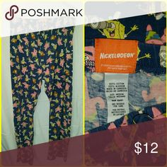 Sponge Bob Lounge Pants Who lives in a pineapple under the sea? Sponge Bob Square Pants! Soft stretch knit fabric with a drawstring tie waist and front fly. Navy blue background with Sponge Bob and his friend Patrick printed all over the pants, to cute! Good used condition. Nickelodeon Pants
