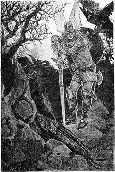 howard pyle drawings | Howard Pyle (1853-1911)-'Siegfried kills the dragon Fafnir'-drawing ...