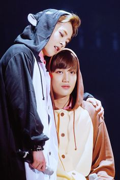 160318 The EXO'luxion [dot] in Seoul Day 1  Onesie buds Xiumin and Kai