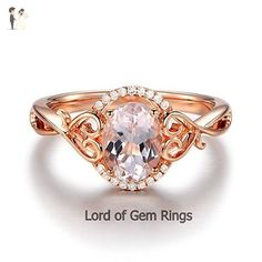 Oval Morganite Engagement Ring Diamonds 14K Rose Gold 6x8mm Floral - Wedding and engagement rings (*Amazon Partner-Link)