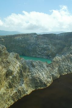 Brown and Turquoise Lakes at Kelimutu, Flores, Indonesia