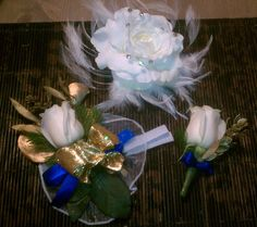 Pieces I made for my wedding - my hairpiece, his boutonniere, and family corsages