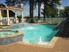 Traditional Swimming Pool with Rockwood Baby Grand Fireplace ...