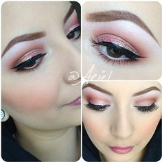 Prom is around the corner so I wanted to demo a look using soft browns, pinks, and corals with a touch of glitter makeup by #sprkle_makeup using @benefitcosmetics for my brows, #maccosmetics on eyes and cheeks, and @limecrimemakeup glitter on the lid. Lashes are doubled up by #redcherrylashes Enjoy!  (at Trends Salon)