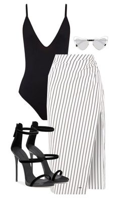 black v neck bodysuit and black and white stripe skirt paired with black heeled sandals. Visit Daily Dress Me at dailydressme.com for more inspiration bodysuits, midi skirt, heels, sandals, black and white outfits, women's fashion 2018