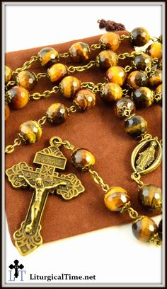 Genuine Stone Rosary ~ Handmade ~ Tiger Eye Rosary with faceted beads ~ Bronze…