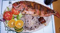 Panamanian food - Corvina (Sea Bass) with Arroz con guandu