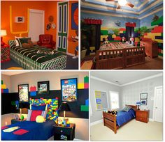 Lego: 9 ways to make a bedroom Lego themed (if i show this to my boys they will want me to do this. LOL)