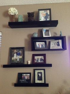 Wall shelves with pictures