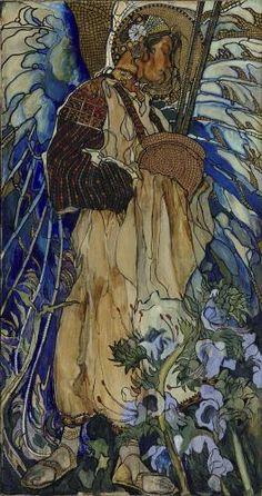 Kazimierz Sichulski, Die Huzulische Madonna, 1909, Tempera und Pastell auf Papier, auf Leinwand aufgezogen, 150 x 79,5 cm, Belvedere, Wien, Inv.-Nr. 1365a\nBelvedere, Wien