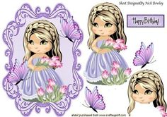 Pretty girl with bunch of tulips and butterflies on Craftsuprint - Add To Basket!