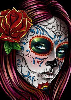 mexican skull women art | Mexican Skull Girl Art Print by Leonardo Paciarotti Di Maggio ...