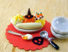 Polymer Clay Ice Cream Miniature Halloween Banana Split Dessert - 1/12 Scale One Inch Miniature Sweets
