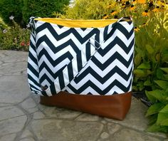 Chevron Messenger Bag made with brown leather, Diaper bag in black zig zag and leather, Purse, Everything Bag, Zig Zag, on Etsy, $85.00