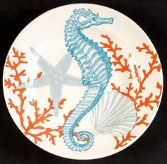 222 Fifth (PTS) Coastal Life Grenada Appetizer Plate - Hobbies paining body for kids and adult China Painting, Ceramic Painting, Ceramic Art, Ceramic Plates, Decorative Plates, Grey Dinnerware, Appetizer Plates, Doll Repaint, Coastal Style