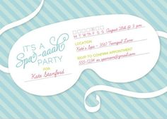 Spa-themed Bridal Shower Invitation