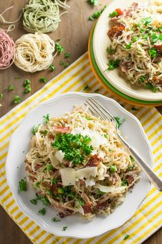 Light Angel Hair Carbonara | Turkey bacon is a wonderful substitute for pancetta or bacon. Green peas add sweetness and pop of color. The mixture of egg substitute, milk, and Parmesan create a creamy sauce that rivals any heavy full fat sauce. WorldofPastabilities.com