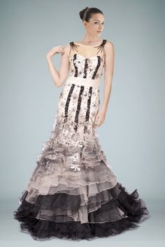 Sophistication Trumpet Evening Gown Featuring Floral Design and Tiered Ruffled Skirt
