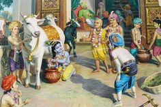 Krishna milking cow towards Balaram