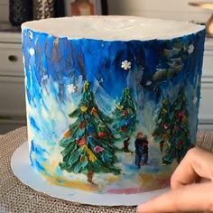 Christmas Themed Cake, Christmas Cake Designs, Christmas Cupcakes, Christmas Desserts, Cake Decorating Techniques, Cake Decorating Tutorials, Cookie Decorating, Pretty Cakes, Beautiful Cakes