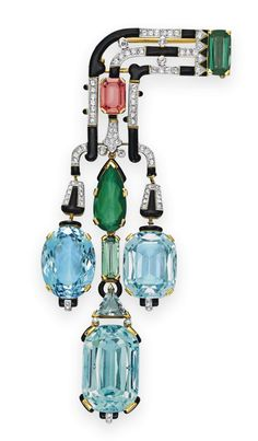 And then I died. Cartier Art Deco Brooch / 1927 / French / Aquamarine, Tourmaline, Diamond & Enamel