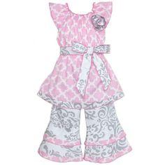 100% cotton pink quarterfoil and gray damask outfit www.facebook.com/periwinkleprincessboutique