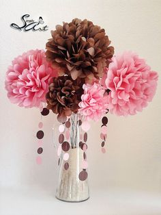 Tissue Paper Flowers with stems Floral Arrangement by SimplyArt, $18.99