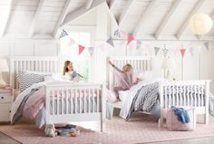 Twin beds. We love the white, grey and pink palette. #kidsroom HomeDecorators.com